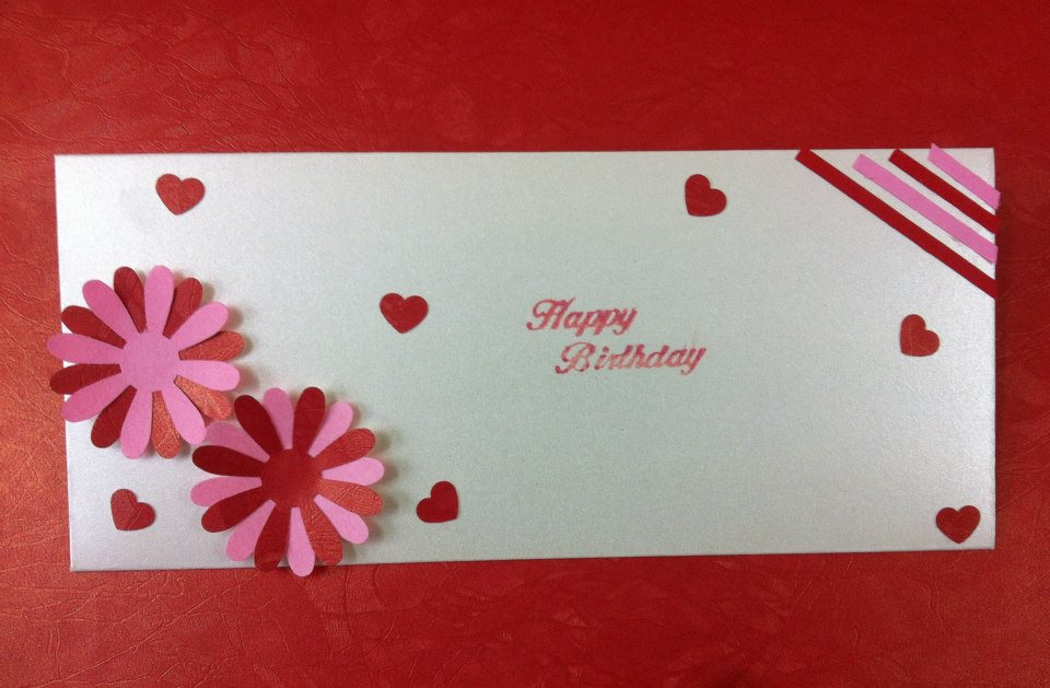 Quilled envelope for birthday